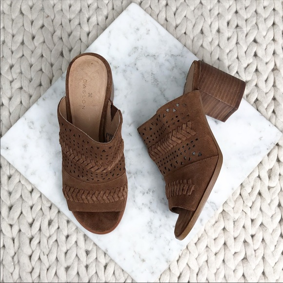 Caslon Camel Suede Woven Cutout Heeled Mules
